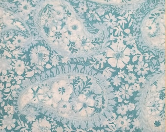 """Turquoise Blue Floral Paisley 108"""" wide back 100% cotton fabric"""