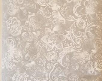 "Light Gray Large Modern Flower print 108"" wide back 100% cotton fabric"