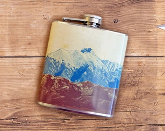 Mountains Liquor Flask Camping Hiking Outdoors Climbing Snowboarding Backpacking Adventure Gift - Stainless Steel 6 oz Alcohol Hip Flask