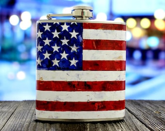 American Flag Whiskey Flask USA Red White Blue United States Men Birthday Groomsmen Gift - Stainless Steel 6 oz Alcohol Hip Flask LC-1005