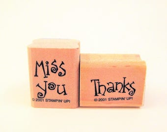 thanks miss you rubber stamps mini small by Stampin Up