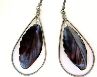 long teardrop hoop earrings with dark black white shell bead antique silver