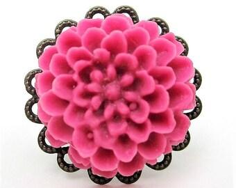 dark raspberry Pink Dahlia flower ring on antique bronze adjustable base