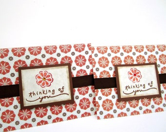 thinking of you cards flowers orange and brown-set of 2