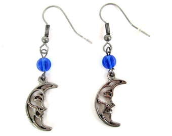 moon earrings moon face crescent moon in blue and antique silver