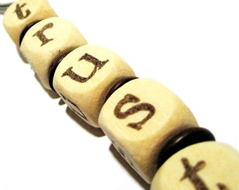 TRUST key chain hand-stamped on wooden beads tan brown