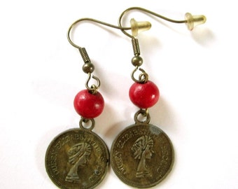 Queen Elizabeth II coin earrings antique bronze with red bead boho chic