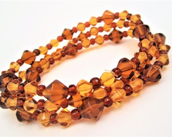 brown bracelet set with gold and amber stretch bracelets glass beads beaded set of 3