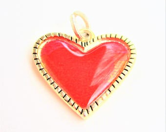 red heart charms resin and silver tone - set of 4