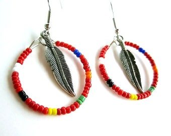 boho hippie beaded hoop earrings with feather charm in red