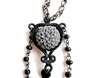 extra long chrysanthemum necklace in gray, black, and gunmetal with gift box
