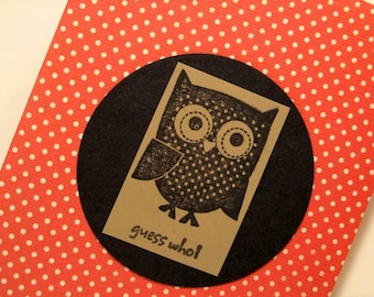 GUESS WHO Owl note card with polk dots in Cherry Red