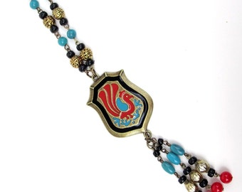 long peacock pendant necklace beaded tassel in antique bronze teal red black