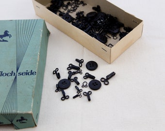 Lot of 5 hard-to-find vintage 1940s strong 2-part unused black metal hook with loop for your sewing prodjects