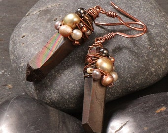 Charcoal and pearl earrings: matte black crystal quartz points wire wrapped with multi colored pearls and copper