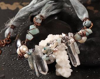 Ocean Dream sari silk necklace: white coral, crystal quartz points, rough blue kyanite sticks, aquamarine, pearls, recycled sari silk ribbon