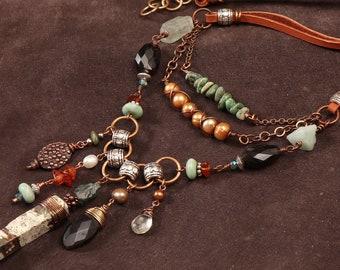Walnut Creek multi strand necklace: wire wrapped Impression jasper, smoky quartz, turquoise, aquamarine, pearl, copper, silver, leather