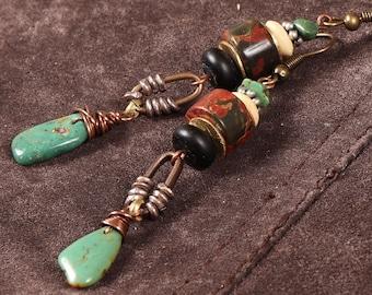 Moab stacked stone earrings: wire wrapped turquoise, red creek jasper, matte black onyx, bone, silver, brass, copper