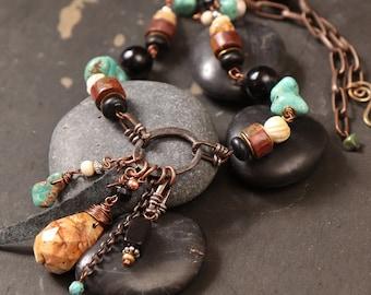 Trailhead necklace: picture jasper pendant, wire wrapped semi precious stone, turquoise, onyx, red creek jasper, leather, copper, bone
