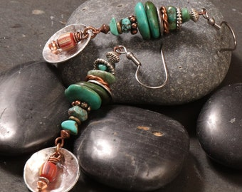 Turquoise stack mixed metal earrings: turquoise nuggets, hammered silver discs, copper, red striped African trade beads