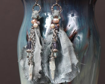 Mist Rising earrings: blue sari silk earrings with wire wrapped kyanite sticks, iolite, pearl and silver
