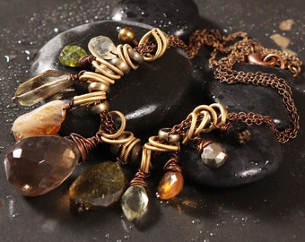 Earthstone necklace: Wire wrapped semi-precious gemstone briolletes and nuggets, bronze chain, matte gold