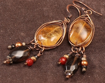 Autumn Harvest semi precious stone earrings: wire wrapped citrine nuggets, smoky quartz, carnelian, pearl, copper, brass
