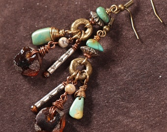 Native Spirit mixed metal earrings: African trade beads, turquoise nuggets, wire wrapped recycled glass, silver, brass, copper