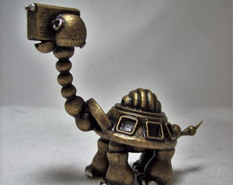 Robot tortue Sculpture figurine animaux bois tortue mignon personnage tortue des Galapagos