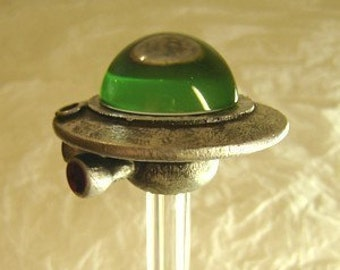 Flying Saucer Cane UFO Walking Stick Alien Costume Cane Handmade Flying Saucer Martian Green Clear Dome UFO Silver Wood Spaceship Clear Rod