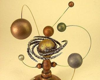 Espace mariage Topper système solaire gâteau Science bois Top cadeau de mariage soleil et planètes planétaire Steampunk mariage Momento