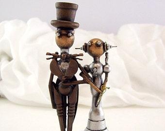 Cupcake mariage Topper mariée marié mariage élégant espace Momento robe de princesse haut-de-forme queues de Sculpture sur bois à la main