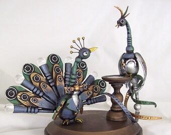 Paon, oiseau à la main Unique de Topper Cake gâteau de mariage détaillé marié mariée animaux bois Top paon Statue de mariage