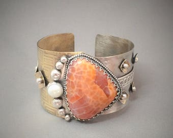 Silver, Bronze and Gold Filled Cuff with Fired Agate