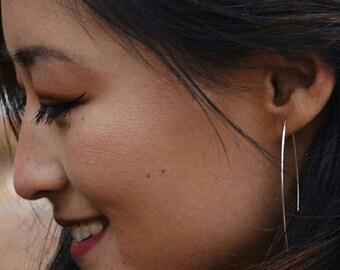 Minimalist Earrings, Reversible Earrings, Simple Silver Earrings, Long Gold Earrings, 14K Yellow Gold, Minimalist Earring, Beadless Earrings