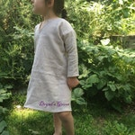 Reserved - Linen Children's Tunic - coral, size 8
