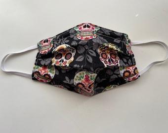 Sugar Skull All-Cotton Face Mask - kids size