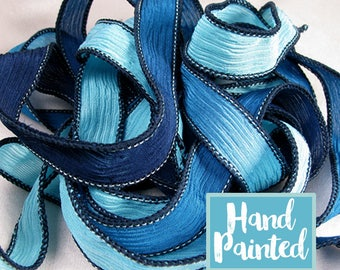 Silk Ribbon, Silk Wrist Wrap, Hand Dyed Silk Ribbon Wholesale, Fairy Ribbons - Marina