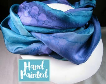 Scarf, Silk Scarf - Purple scarf, Hand Painted Silk Scarf, OOAK Scarf, Unique Gift Scarf - Purple Teal Scarf