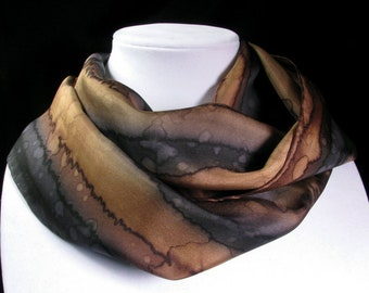 Scarf, Silk Scarf - Hand Painted Silk Scarf, Christmas Gift, Gift for Her, black and brown scarf - Midnight Canyon