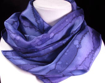 Scarf, Purple Scarf, Silk Scarf - Hand Painted Scarf, Mother's Day Gift, Gift for Her, Anniversary Gift - Amethyst Rain Scarf