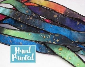 Hand Dyed Ribbon, Silk Ribbon, Ribbon bracelet, , Silk Wrist Wrap, Quintessence - Galaxy