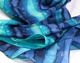 Scarf, Silk Scarf, Hand Painted Scarf, Gift for Her, Birthday Gift - Navy Turquoise Scarf - Nautical Scarf
