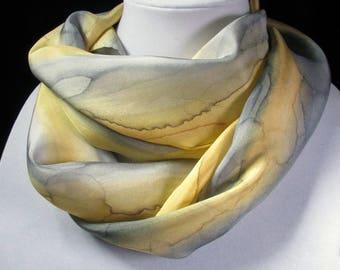 Scarf, Silk Scarf, Hand Painted Silk Scarf - Gift for Her, Quintessence Silk - Yellow Grey Rain