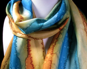 Scarf, Silk Scarf, Hand Painted Scarf, Gift for Her - Tuscan Terrace