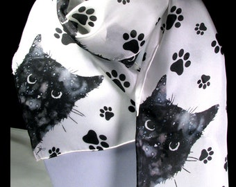 Scarf, Silk Scarf, Cat Scarf, Black Cat, 11x60, Peeking Cat Scarf