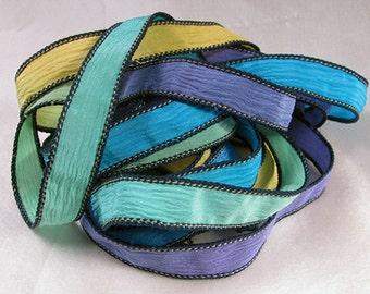 Hand Dyed Silk Ribbon - Crinkle Silk Jewelry Bracelet Fairy Ribbon - Quintessence - Serendipity