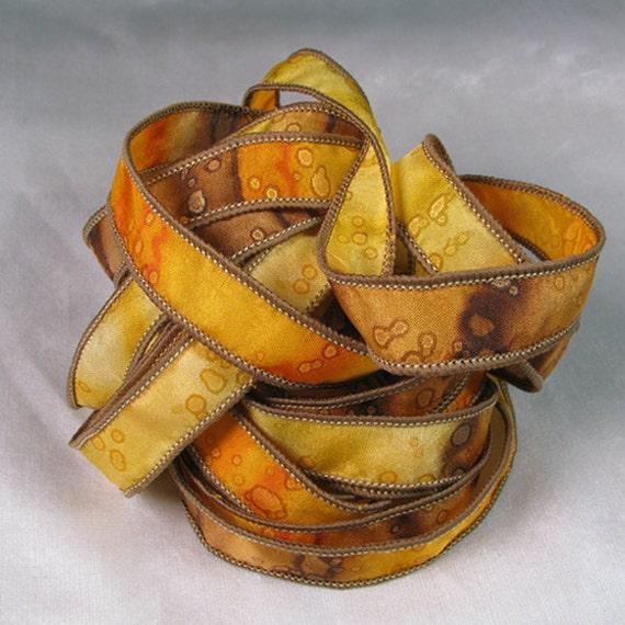 Ruban de soie - rubans de soie teints à la main - Bracelet ruban de soie, soie Wrist Wrap - éclat tournesol