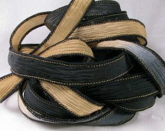 Silk Wrist Wrap, Hand Dyed Silk Ribbon - Crinkle Silk Jewelry Bracelet Fairy Ribbon - Quintessence - Black and Camel