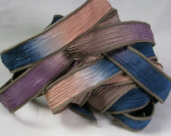 Silk Ribbon, Hand Dyed Silk Ribbon - Crinkle Silk ribbon, Jewelry Bracelet, Fairy Ribbon, Silk Wrist Wrap - Vintage